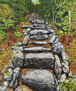 print of a colored pencil drawing of Mt Tecumseh trail by Mazie Cash