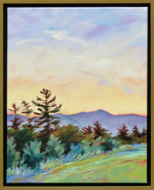 Oil painting by Linda Gray of twilight over a mountain range