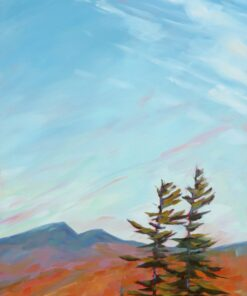 Oil painting of a view across a mountain range with two pine trees and wispy clouds in a blue sky