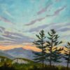 Oil painting of a sunset across a mountain valley with three pine trees in the middleground