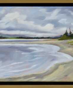 oil painting of a sandy beach stretching into the distance with mountains at the horizon
