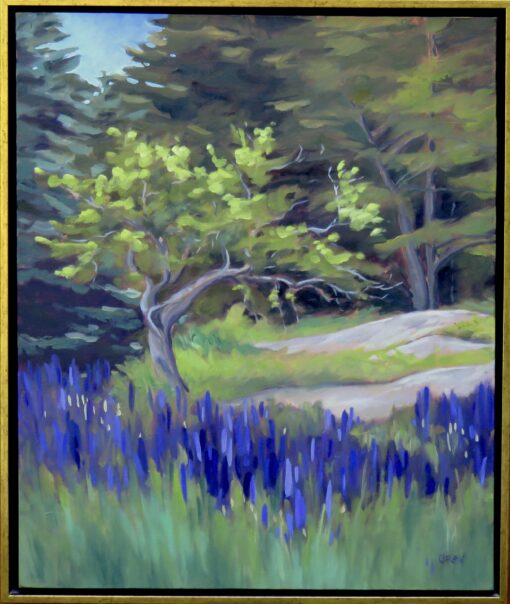 Oil painting of a clump of purple lupines in front of an apple tree
