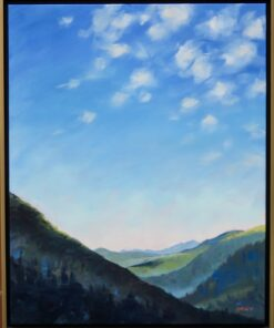 Oil painting of a big blue sky above a mountain range