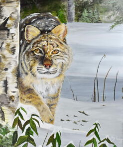 Acrylic on canvas of a bobcat in the snow
