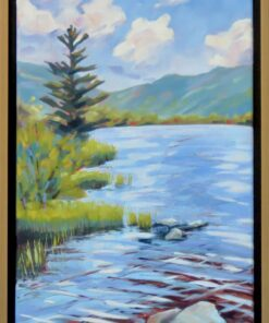 Oil painting of a body of water rippling in the wind in front of a mountain range