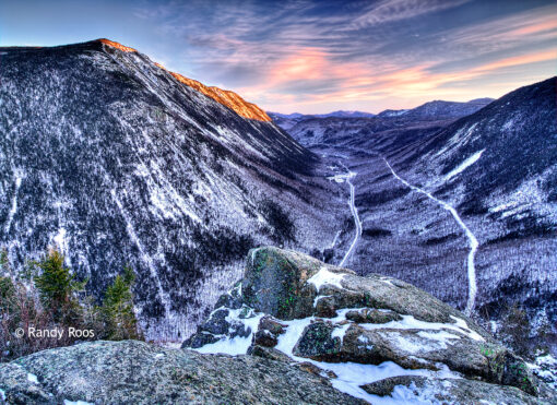 Photograph of Crawford Notch from Mt Willard in winter