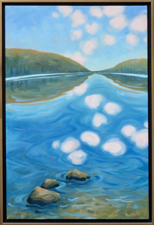 Oil painting of a pond between two mountains reflecting fluffy clouds in the sky