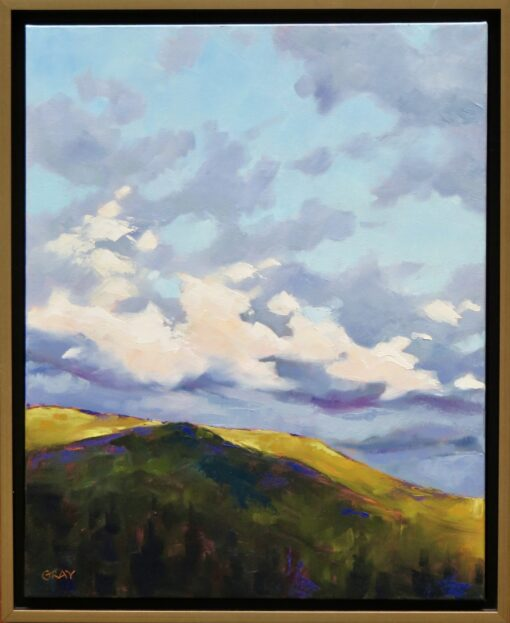 Oil painting of morning sunlight hitting a mountain range with fluffy clouds above