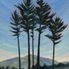 Oil painting of five pine trees in front of a mountain landscape