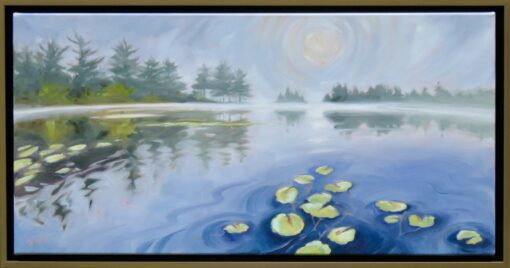 Oil painting of a pond on a foggy morning with lily pads in the water and trees lining the bank