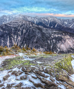 Photograph of Franconia Range in winter from Cannon Mountain Ledges