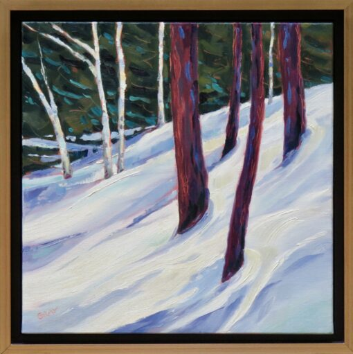 Oil painting of a snowy glad of trees
