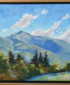 Oil painting of a mountain with a deep ravine