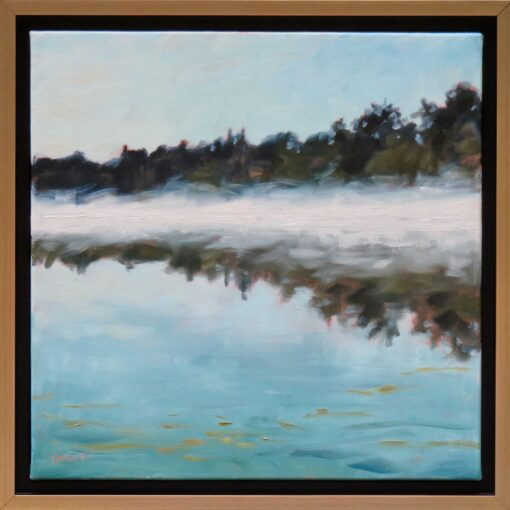 Oil painting of a pond with mist rising off the water, reflecting trees on the bank