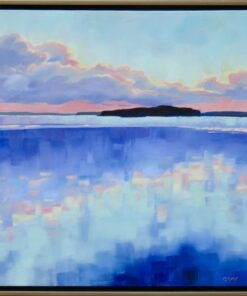 Oil painting of a body of water reflecting the sky at sunset