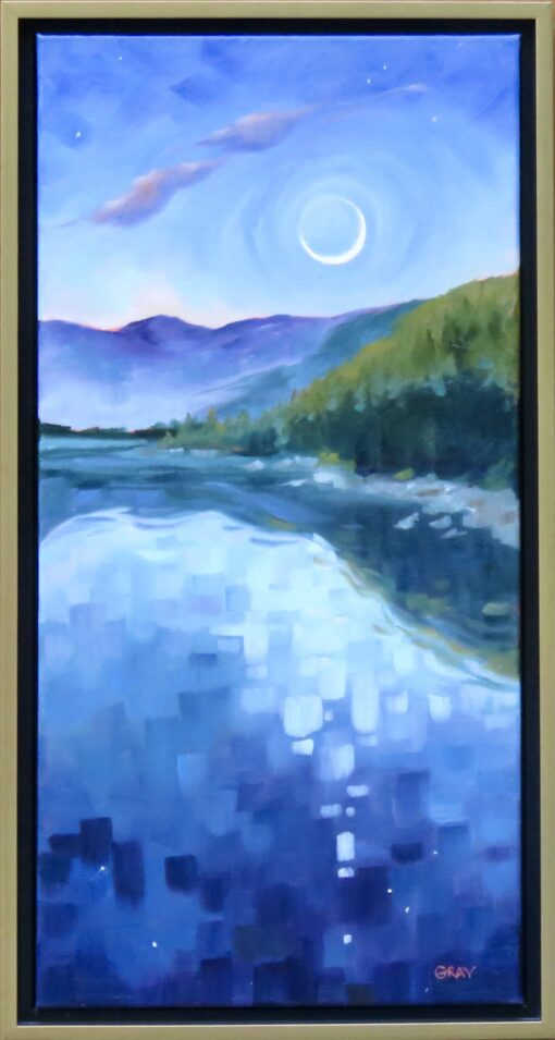 Oil painting of a pond reflecting moonlight and a mountain range, with a crescent moon in the sky