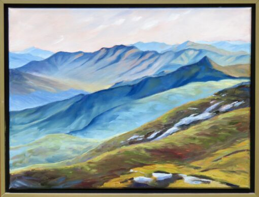 Oil painting of the southeast view from Mount Lafayette, White Mountains, New Hampshire