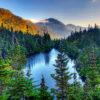 Photograph of Spaulding Lake, Mount Adams, and Mount Madison