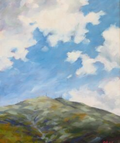 Oil painting of a mountain summit with a blue sky and clouds