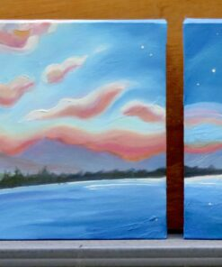 Three oil paintings showing the progression of a sunset over a mountain pond